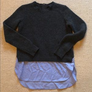JCrew gray knit sweater with blue shirttail, XXS